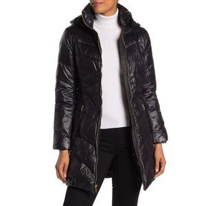 Via Spiga Black Quilted Puffer Hooded Jacket